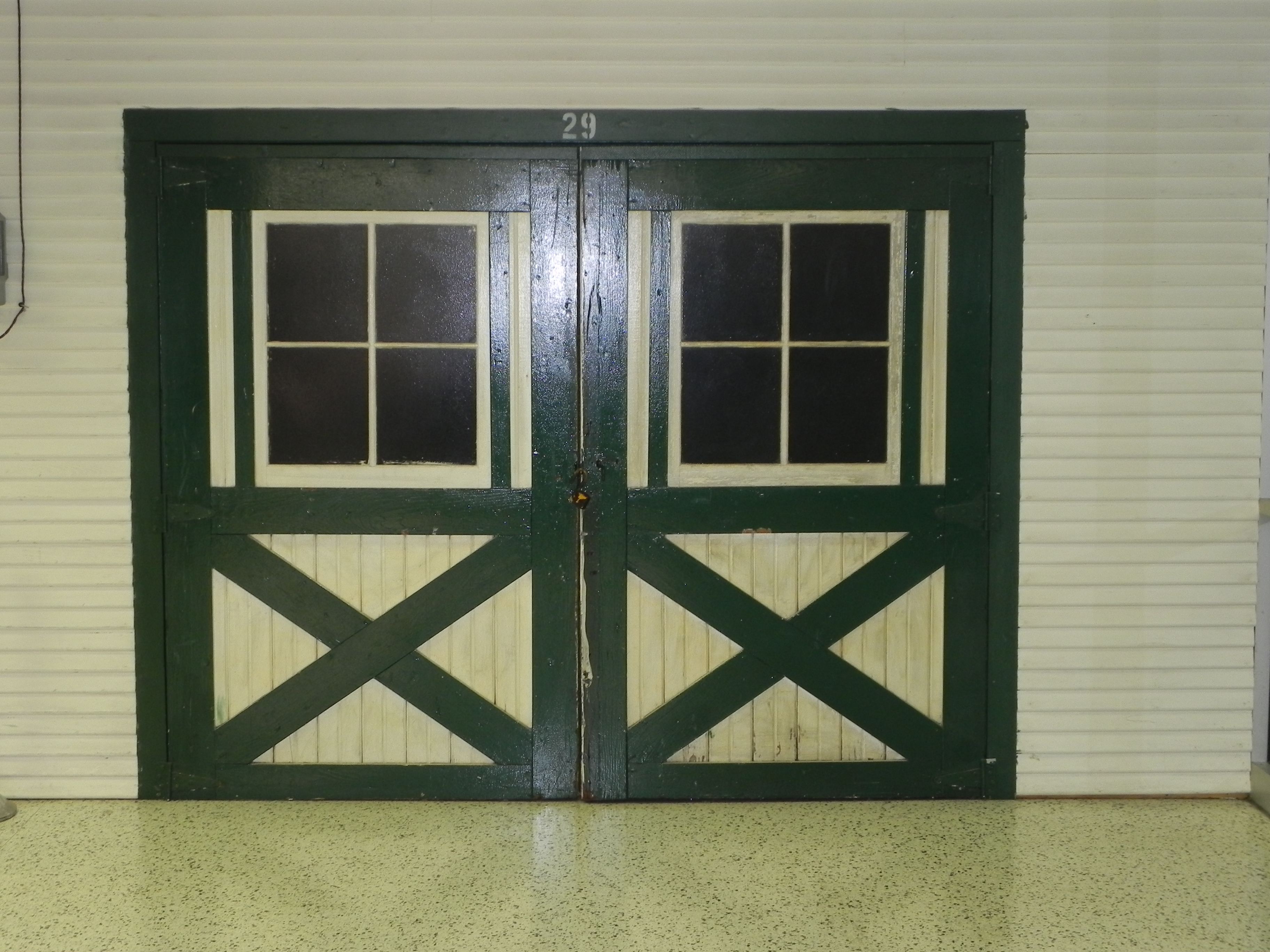 A Set Of Old Doors Set Up For Display At The Indianapolis Motor Speedway  Hall Of Fame Museum.